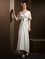 Lanting Sheath/Column Wedding Dress - Ivory Asymmetrical V-neck Satin Chiffon