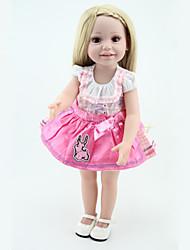 NPK 45CM 18''American Girl Princess Doll Full Vinyl Handmade Lifelike Baby Alive Toys Long Hair With Clothes Best Gift