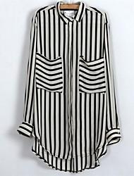 Women's Lapel Stripe Long Sleeve Shirts