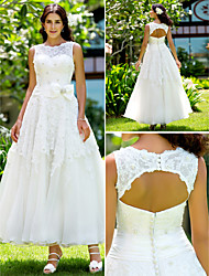 Lanting A-line/Princess Plus Sizes Wedding Dress - Ivory Ankle-length Jewel Lace