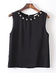Women's Solid Black Blouse , Round Neck Sleeveless