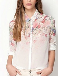 Fashion Queen Women's Casual/Work Shirt Collar Long Sleeve Casual Shirts (Chiffon)