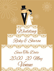 Personalized Wedding Invitations Cute Wedding Cake Pattern Save The Date Paper Card 15cm x 12.5cm 50pcs/Set