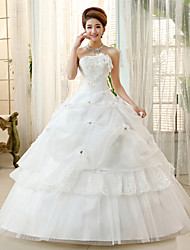 Princess/Ball Gown Wedding Dress - Ivory Floor-length Strapless Organza