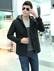 Men's Long Sleeve Jacket , Cotton/Polyester Casual Pure