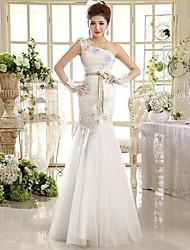 Trumpet/Mermaid Floor-length Wedding Dress -One Shoulder Tulle