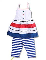 Girl's Summer/Spring/Fall Micro-elastic Medium Sleeveless Clothing Sets (Cotton)