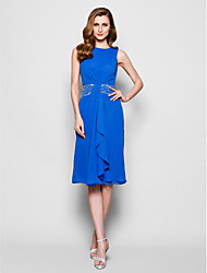 Lanting Sheath/Column Plus Sizes / Petite Mother of the Bride Dress - Royal Blue Knee-length Sleeveless Chiffon