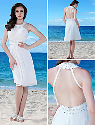 Lanting Sheath/Column Plus Sizes Wedding Dress - White Knee-length Jewel Chiffon