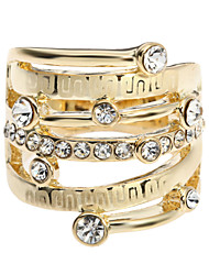 Arinna Ladies Rhinestone Geometric Pattern Finger Party Ring 18K Yellow Gold GP Jewelry J2264