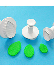 FOUR-C Rose Leaf Fondant Cake Plunger Cutters,Plastic Cake Cutter,Decorating Cake Tools