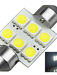 1.2W 12V 6000K 36MM-5050-6MD Nonpolarity Lincense Plate And Tail Box Lighting LED Festoon Light for Car