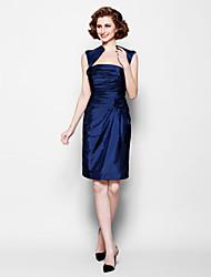 Sheath/Column Plus Sizes / Petite Mother of the Bride Dress - Dark Navy Knee-length Sleeveless Taffeta