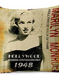 Классический Мэрилин Монро 1948 рисунком хлопок / лен декоративная подушка крышка