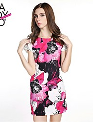 Women's Going out Cute Dress,Floral Above Knee Short Sleeve Multi-color Polyester Spring / Summer / Fall