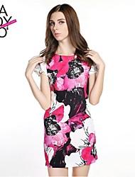 haoduoyi® Women's Graceful Big Flower Print Slim Fitted Back Long Zipper Dress
