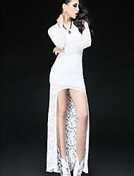 vestido de manga larga de encaje de empalme más reciente mini mujeres