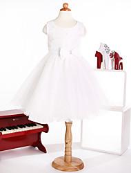 Flower Girl Dress Princess Jewel  Tulle  Sleeveless  Knee-length