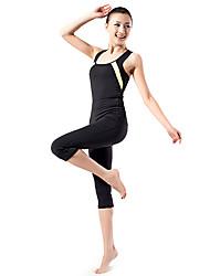mangas yoga negro traje de entrenamiento de la mujer