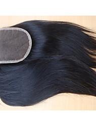 """20 """"brésilien fermeture de cheveux vierges partie libre de style 3,5"""" x4 """"couleur naturelle des morceaux de cheveux droites fermeture à"""