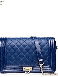 Leather Quilted Chain Cross Body Satchel Shoulder Bag