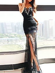TS Women's 2015 New Occident Sexy Goddess Irregular See-through Lace  Dress