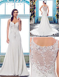 Lanting Bride Trumpet/Mermaid Petite / Plus Sizes Wedding Dress-Court Train Spaghetti Straps Chiffon / Lace