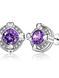 Concise Silver Plated Amethyst Purple Crystal Round Stud Earrings for Party Women Jewelry Accessiories