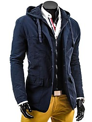 Men's Long Sleeve Casual Jacket,Cotton / Polyester Solid Black / Blue