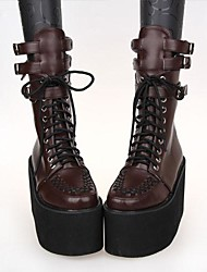 Brown PU Leather 10CM Platform Gothic Lolita Shoes With Row