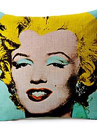 Классический Мэрилин Монро рисунком хлопок / лен декоративная подушка крышка