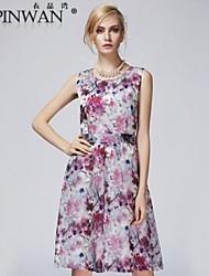 yipinwan ® vestido elegante impressão de seda camisetas sem mangas das mulheres