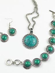 prata antiga toonykelly vintage rodada turquesa (brinco e colar e braclet) conjunto de jóias