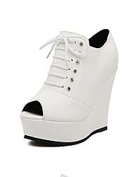 Women's Shoes Patent Leather Wedge Heel Peep Toe Pumps Dress