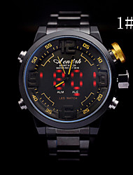 Men's  LED Dual Core  Steel Watch Circular  High Quality Japanese Quartz Movement Watches (Assorted Colors)