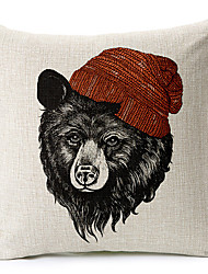 Modern Style Bear Patterned Cotton/Linen Decorative Pillow Cover