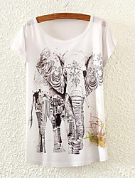 Women's Elephant Print Short Sleeve T-shirts