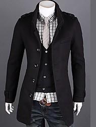 moda masculina delgado largo abrigo de manga larga