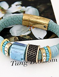Women's Trend Wild Leather Metal Magnet Fashion With Rhinestone Bracelet