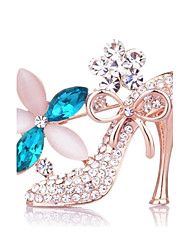 Charm Angel Fashion Elegant Crystal Shoe Shape Brooch for Wedding & Party