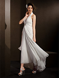 Lanting Bride® Sheath / Column Petite / Plus Sizes Wedding Dress Asymmetrical Halter Chiffon with