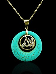 18k реальное позолоченные к богу мусульманское бирюзовый кулон
