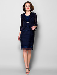 Sheath/Column Plus Sizes / Petite Mother of the Bride Dress - Dark Navy Knee-length 3/4 Length Sleeve Chiffon / Taffeta