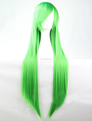 The New Cartoon Green Long Straight Brown Hair Wig 80CM