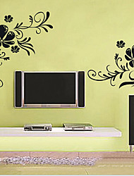 rotin fleur sticker mural PVC amovible environnement