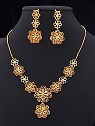 u7® kroonluchter oorbellen 18k vergulde holle bloemen charme ketting sieraden set voor vrouwen van hoge kwaliteit 22 ''
