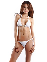 White Halter Convertible Pad Top Tie Sides String Bottom Bikini.