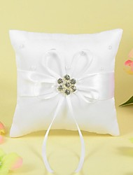 Ring Pillow In Satin With Ribbon And Rhinestone