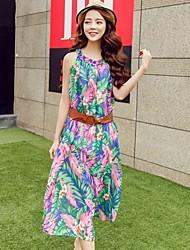 Women's Loose A line Floral Chiffon Dress Long Summer Beach Dresses