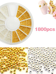 French Gel Nail Special Gold And Silver Small Steel Ball Nail Art  Decoration kits